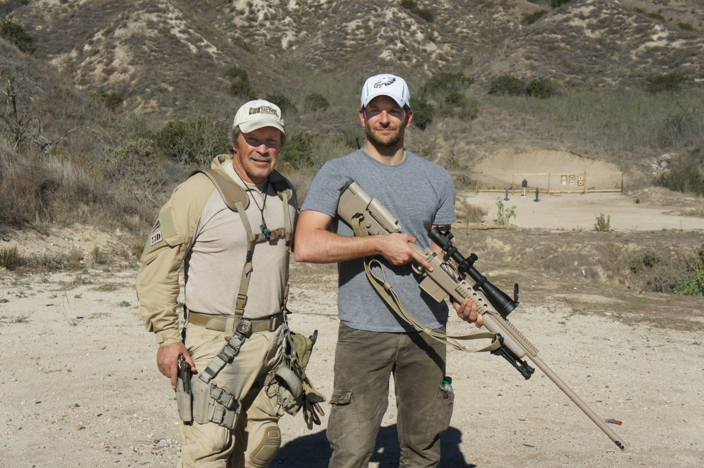 "We were proud to be able to contribute to a movie honoring the life of an American hero when we worked with Bradley Cooper.  He came out to get familiar with the .338 Lapua rifle he would be using for the hugely successful ""American Sniper""."